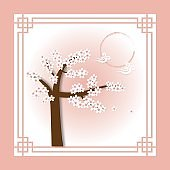 Cherry Blossom in Spring season paper art style for background.Translated : Cherry Blossom