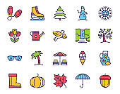 Seasons items color linear icons set