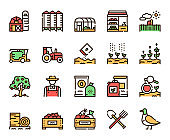 Agriculture linear color vector icons set