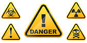 Set of glossy Danger signs isolated on white background. Vector illustration