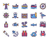 Voyage items color linear icons set