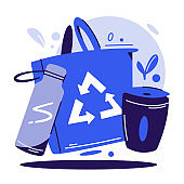 Zero waste lifestyle flat vector illustration