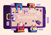Teamwork at the smartphone desk. Coworking concept. Cartoon vector illustration