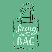 Hand drawn bring your own bag quote. Vector format.