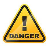 Danger sign isolated on white background. Vector illustration