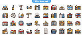 City locations color linear icons vector set