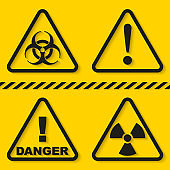 Set of danger signs isolated on yellow background. Vector illustration