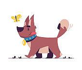 Cute little dog flat vector illustration