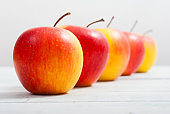 Red apples in a row