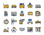 Moving items color linear icons set