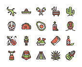 Mexico items color linear icons set