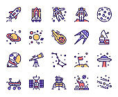 Outer space and universe color linear vector icons set