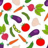 Vector seamless pattern with colorful vegetables. Seamless pattern.