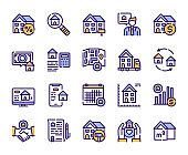 Real estate linear color vector icons set
