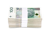 Polish 100zl  Banknotes Stack