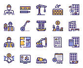 Construction industry color linear vector icons set