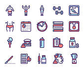 Weight loss color linear vector icons set