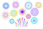 Vector color fireworks isolated on dark background.