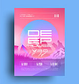 Night club deep house music party event poster flyer design template with deep house caption and mountains at background. Minimal techno. Music flyer. Vector illustration