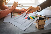Couple buy or rent apartment together. Cut view of man and woman hands. She hold colorful pieces of tissues. He point on apartment plan with pen. Small wooden toy house on table.