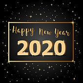 Golden Happy New Year 2020 with dark background