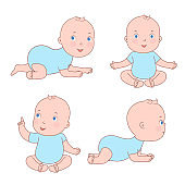 Cute baby toddler in various positions. Newborn from 0 to a year sitting, moving on his stomach.