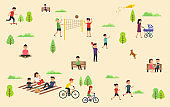 People relax in nature in the park. Leisure in the fresh air, riding bicycle skateboard, playing with ball, walking the dog in park, yoga sessions, family outdoor recreation with a picnic, walk with a child.