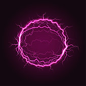 Red electric plasma ball sphere with powerful lightning discharges on dark background.