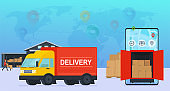 Online service delivery goods to warehouse and home, loading and unloading. Concept urban and international logistics.