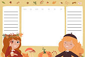 Set of weekly planner with autumn elements