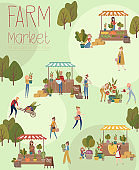 Farmer's market poster with people selling and shopping at walking street, organic fruits and vegetables, cartoon flat design