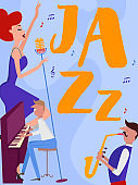 Jazz music festival poster with musicians and musical instruments. Editable vector illustration