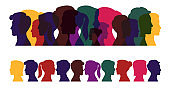 Silhouettes of people, multicolored profile of men and women on a white background.