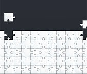 Jigsaw Puzzle Template. White puzzles on a dark background, teamwork or business decision theme.