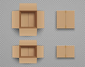 Set of mockup closed and open cardboard boxes Isolated on transparent background.