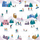 Seamless pattern with Winter Alps holidays background with active people.