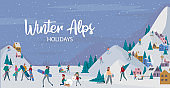 Winter Alps holidays background with active people.