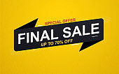 Final sale banner sticker up to 70% discount on yellow background. Special offer banner.