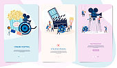 Making movie, video production Mobile App Page with tiny people in the process of shooting a movie. Editable vector illustration