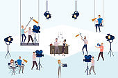 Making movie, video production template with small people in the process of shooting a movie. Editable vector illustration