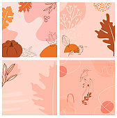 Set of abstract square background with autumn elements, shapes and plants in one line style.