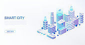 Smart city with intelligent buildings connected to computer network. Concept of building automation, smart home control.