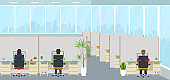 Modern office interior with employees. Office space with panoramic windows, creative workplace.