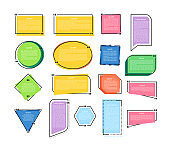 Text quotes bubbles for information, speech quotes. Colored citation quotes for comments or notes.