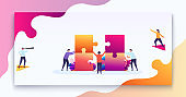 Business teamwork concept. Team of people connects parts of puzzles, purpose of thinking, business decision. Modern vector illustration concept for web design