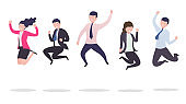 Business people in a jump. A group of successful happy businessmen jumping from happiness celebrating success, victory.