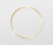 Golden border frame with light shadow and light affects. Gold decoration in minimal style. Graphic metal foil element in geometric thin line circle, round shape
