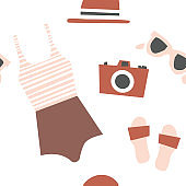 Summer beach kit of objects. Surfing Illustration in vector.