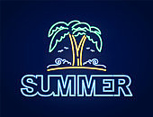 Neon light 3d text composition of Summer with palm tree and beach. Nightlife disign