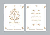 Gold and white vintage greeting card design. Luxury vector ornament template. Great for invitation, flyer, menu, brochure, postcard, background, wallpaper, decoration, packaging or any desired idea.